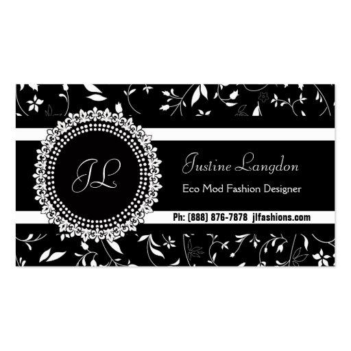 Monograma negro y blanco elegante moderno del tarjetas de visita