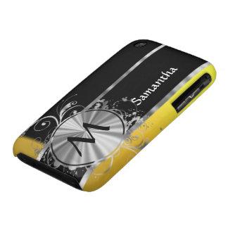 Monograma negro y de plata amarillo iPhone 3 Case-Mate cobertura