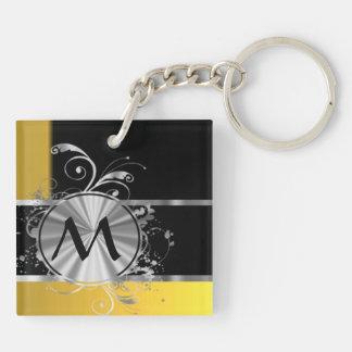 Monograma negro y de plata amarillo llavero cuadrado acrílico a doble cara