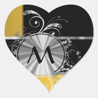 Monograma negro y de plata amarillo pegatina en forma de corazón