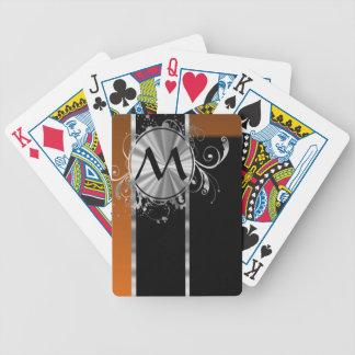 Monograma negro y de plata de cobre barajas de cartas
