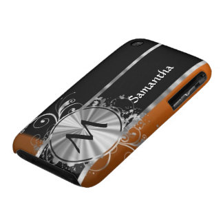 Monograma negro y de plata de cobre iPhone 3 Case-Mate cárcasa
