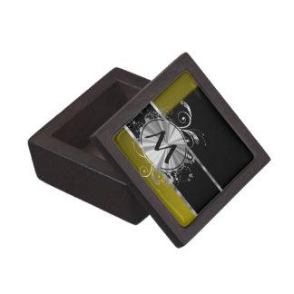 Monograma negro y de plata de la mostaza cajas de regalo de calidad