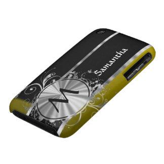 Monograma negro y de plata de la mostaza iPhone 3 Case-Mate carcasa