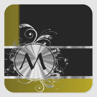 Monograma negro y de plata de la mostaza pegatina cuadrada