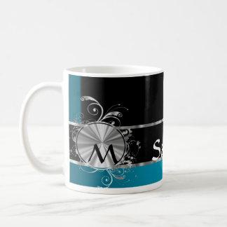 Monograma negro y de plata del trullo taza