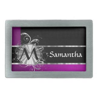 Monograma negro y de plata del vino personalizado hebillas cinturón rectangulares