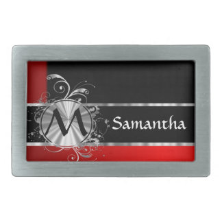 Monograma negro y de plata rojo hebilla de cinturón rectangular