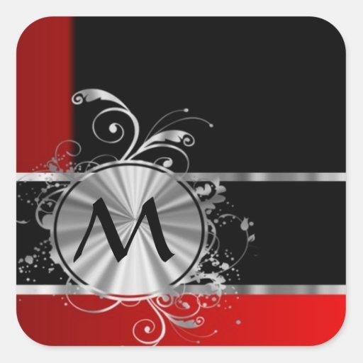 Monograma negro y de plata rojo pegatina cuadrada