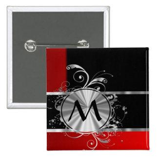 Monograma negro y de plata rojo pin cuadrado