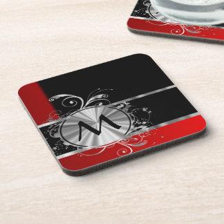 Monograma negro y de plata rojo posavasos