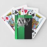 Monograma negro y de plata verde baraja