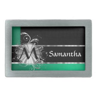 Monograma negro y de plata verde personalizado hebillas cinturon rectangulares