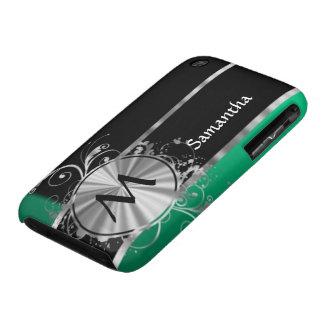 Monograma negro y de plata verde personalizado iPhone 3 carcasa