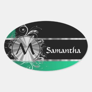 Monograma negro y de plata verde personalizado pegatina ovalada
