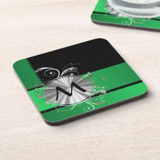 Monograma negro y de plata verde posavasos de bebida