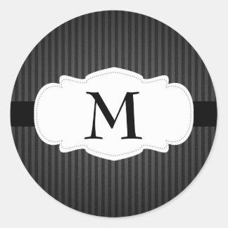 Monograma negro y gris de las rayas verticales pegatina redonda