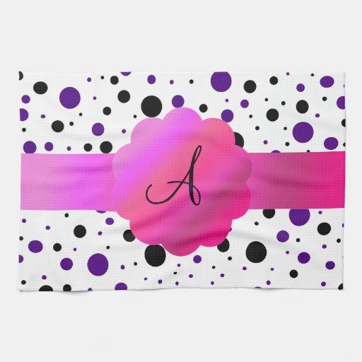 Monograma negro y púrpura de los lunares toallas de mano
