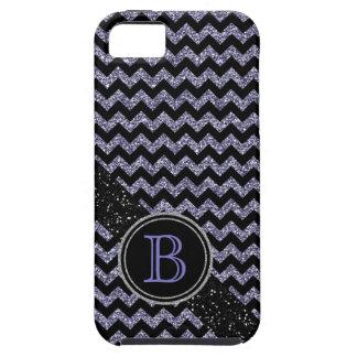 Monograma negro y púrpura del falso brillo de Chev iPhone 5 Coberturas