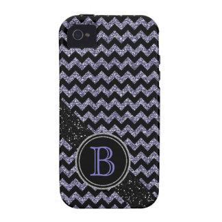 Monograma negro y púrpura del falso brillo de Chev iPhone 4 Carcasas