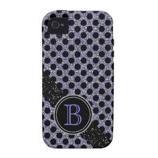 Monograma negro y púrpura del falso brillo de Polk iPhone 4/4S Fundas