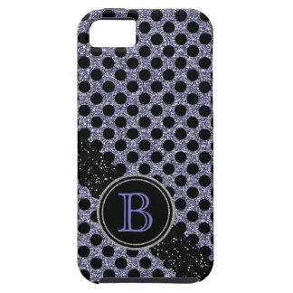 Monograma negro y púrpura del falso brillo de Polk iPhone 5 Carcasa
