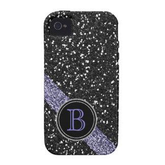 Monograma negro y púrpura del falso brillo vibe iPhone 4 fundas