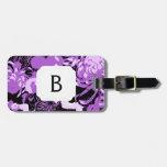 Monograma negro y púrpura del vintage de las flore etiquetas maletas