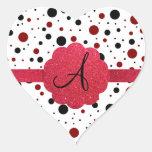 Monograma negro y rojo de los lunares calcomanía de corazón personalizadas