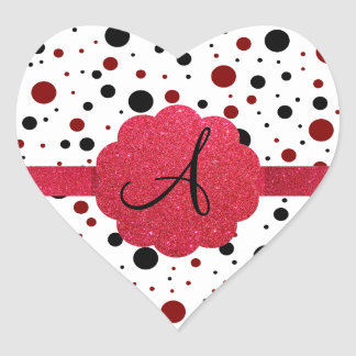Monograma negro y rojo de los lunares pegatina en forma de corazón