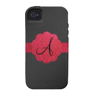 Monograma negro y rojo del brillo iPhone 4/4S fundas