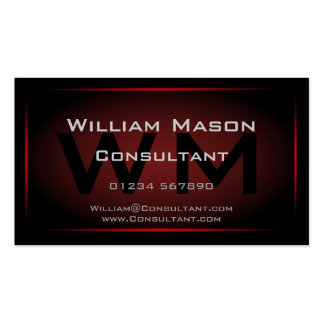 Monograma negro y rojo enmarcado - tarjeta de tarjetas de visita