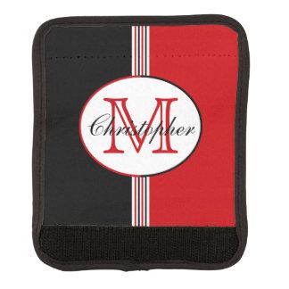 Monograma negro y rojo cobertura para asa de maleta