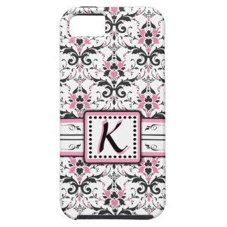 Monograma negro y rosado del damasco funda para iPhone SE/5/5s