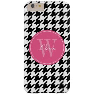 Monograma negro y rosado del modelo de Houndstooth Funda Para iPhone 6 Plus Barely There