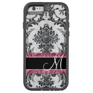 Monograma negro y rosado del modelo del damasco funda de iPhone 6 tough xtreme