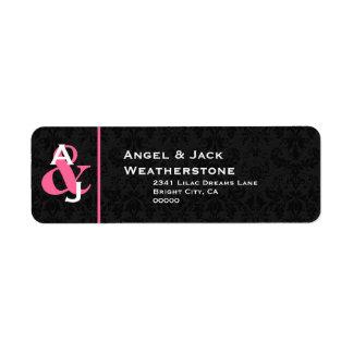 Monograma negro y rosado Ver 007 del boda del Etiqueta De Remite