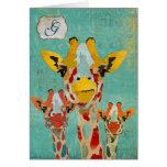 Monograma Notecard de la jirafa que mira a Tarjeta Pequeña