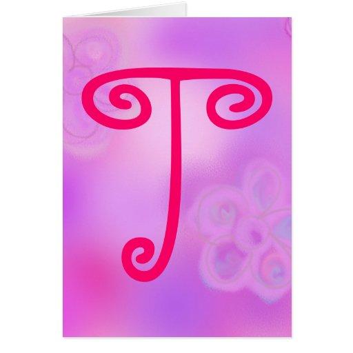 Monograma Notecard de la letra T Tarjeta