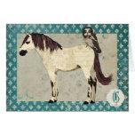 Monograma Notecard del caballo blanco y del búho Tarjeta Pequeña