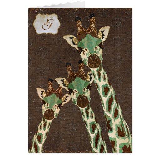 Monograma Notecard del damasco de las jirafas del  Tarjeton