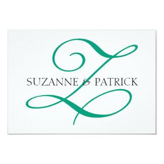 Monograma Notecard (plata/negro) de la escritura Z Invitaciones Personalizada