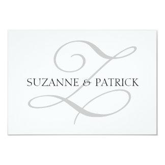 Monograma Notecard (plata/negro) de la escritura Z Anuncios Personalizados