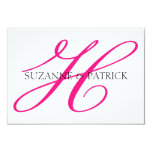 """Monograma Notecard (rosa fuerte/negro) de la Invitación 3.5"""" X 5"""""""