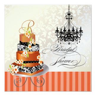 """Monograma nupcial, torta quemada de PixDezines del Invitación 5.25"""" X 5.25"""""""