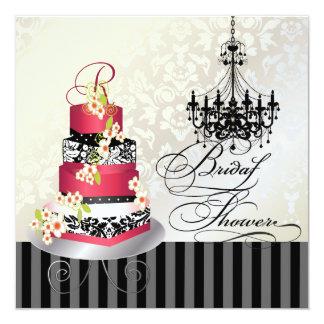 """Monograma nupcial, torta roja de PixDezines del Invitación 5.25"""" X 5.25"""""""