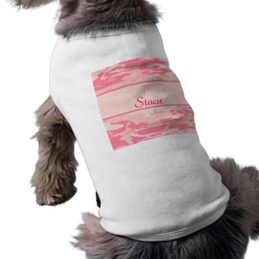 Monograma o nombre rosado de Cusom del camuflaje Camiseta De Mascota