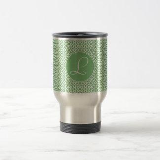 Monograma of elegant initial green Arab art Travel Mug