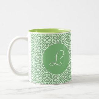 Monograma of elegant initial green Arab art Two-Tone Coffee Mug