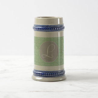 Monograma of green and gray Moroccan geometry Beer Stein